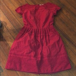 Madewell red dress with pockets